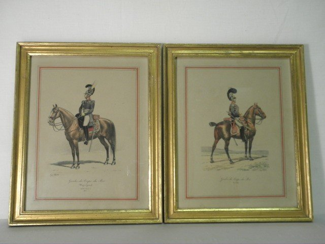 85: PAIR E. TITEUX HAND COLORED CUIRASSIERS LITHOGRAPHS