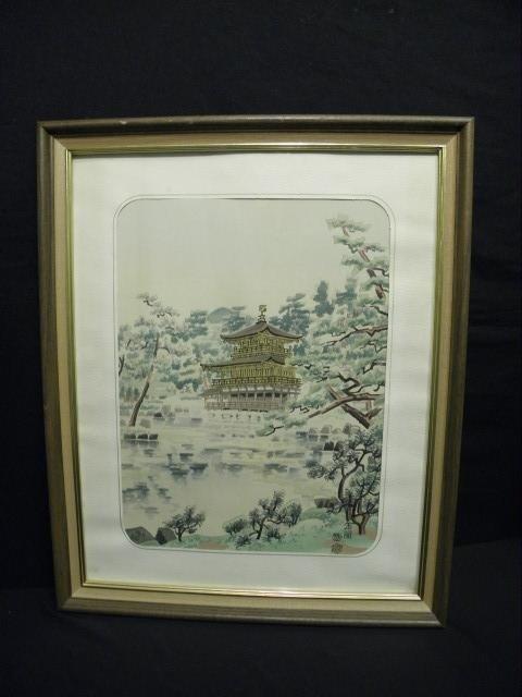 """87: JAPANESE FRAMED WATERCOLOR PAINTING: """"GOLDEN PAVILI"""
