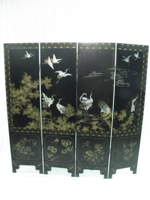 90: CHINESE BLACK LACQUER FOUR PANEL SCREEN