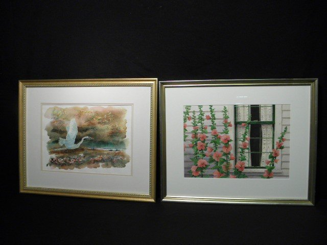94: PAIR FRENCH WATERCOLOR PAINTINGS: HUGHES & COLLINS
