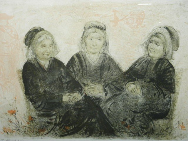96: EDNA HIBEL LIMITED EDITION LITHOGRAPH: OLD FRIENDS
