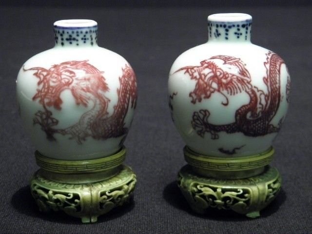 137: PAIR CHINESE MINIATURE CABINET BOTTLES WITH IVORY