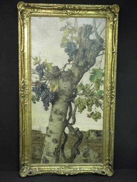 184: GIORGIO LUCCHESI STILL LIFE PAINTING: GRAPE VINE