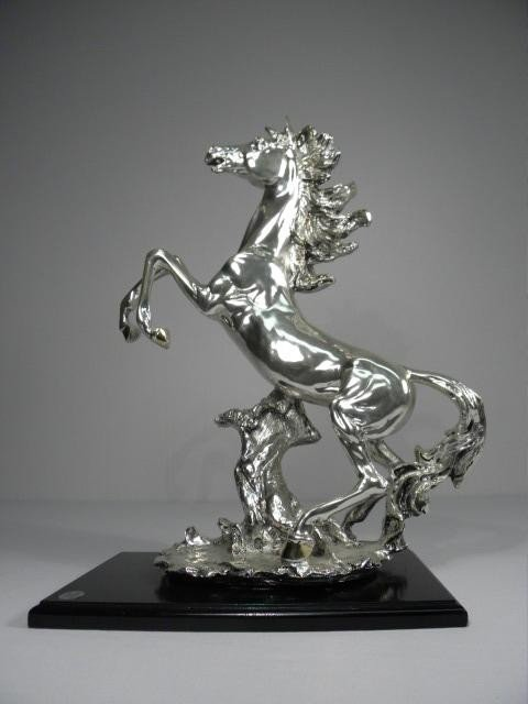 256: ITALIAN SILVER SCULPTURE OF A REARING HORSE