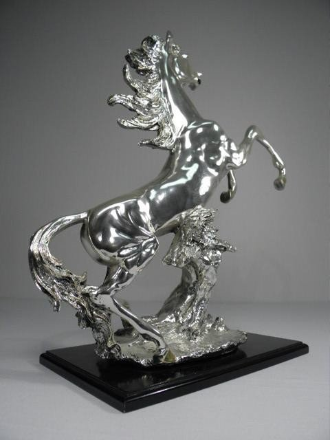 256: ITALIAN SILVER SCULPTURE OF A REARING HORSE - 2