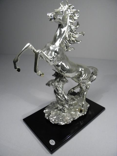 256: ITALIAN SILVER SCULPTURE OF A REARING HORSE - 3