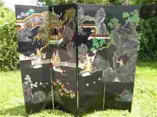 CHINESE BLACK LACQUER FOUR PANEL DIVIDER SCREEN