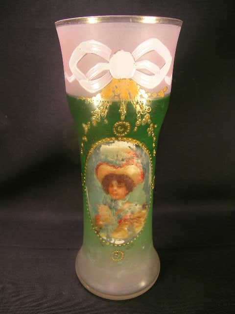 800: ANTIQUE FROSTED ENAMELED GLASS PORTRAIT VASE