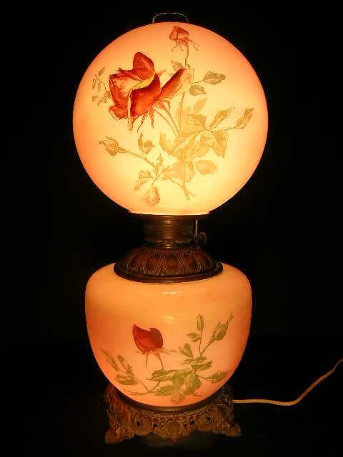 802: ANTIQUE HAND PAINTED PINK ROSE GONE WITH WIND LAMP