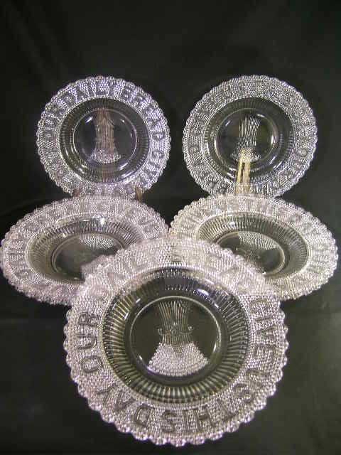 808: EAPG PATTERN GLASS DAILY BREAD PLATES 7 PIECES