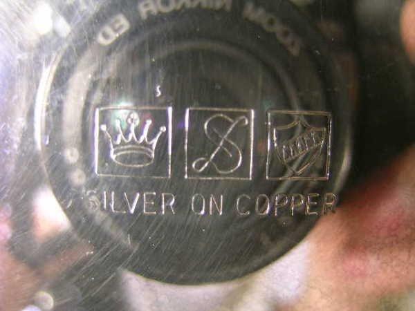 815: SHERIDAN SILVER ON COPPER TEA COFFEE SUGAR SET 3 P - 10
