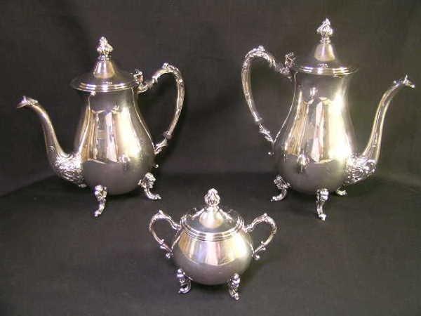 815: SHERIDAN SILVER ON COPPER TEA COFFEE SUGAR SET 3 P