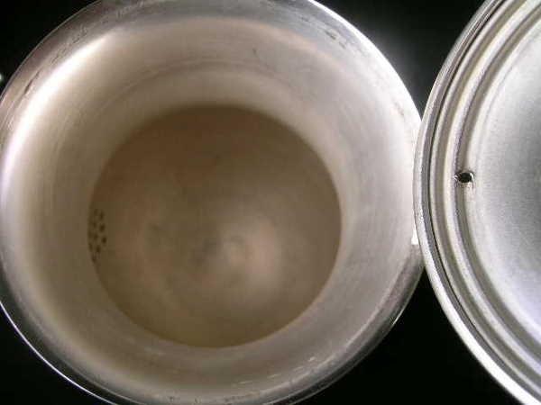 815: SHERIDAN SILVER ON COPPER TEA COFFEE SUGAR SET 3 P - 9
