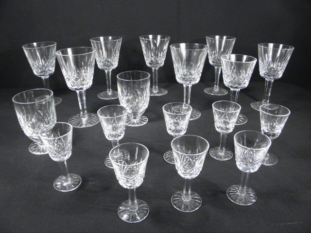 """4: ASSORTED WATERFORD """"LISMORE"""" CUT CRYSTAL STEMS: 18 P"""