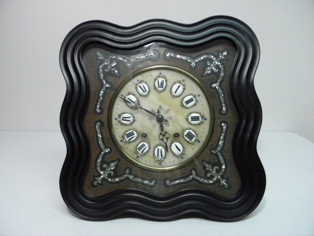 11: ANTIQUE ALABASTER & MOTHER OF PEARL INLAY WALL CLOC