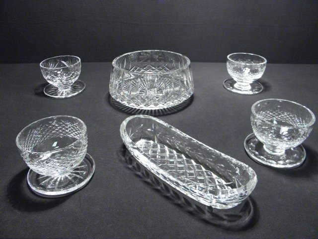 12: ASSORTED WATERFORD CUT CRYSTAL: 6 PCS