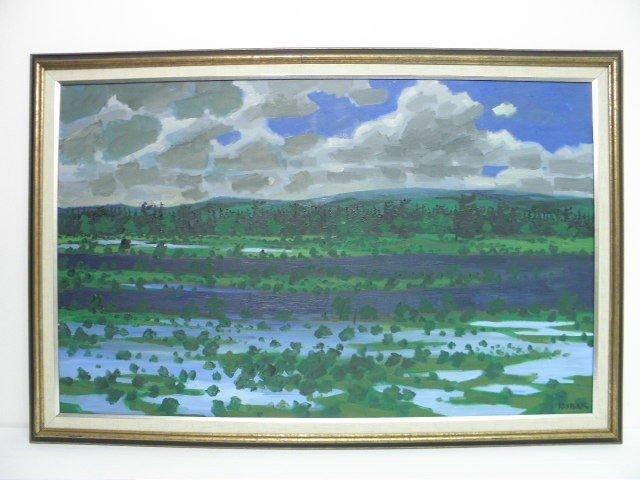 20: BRUNO BOBAK (CANADIAN, b.1923) OIL ON CANVAS PAINTI