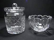 311: WATERFORD CUT CRYSTAL COVERED BISCUIT JAR AND BOWL
