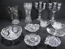 378 ELEVEN PIECES ASSORTED CUT CRYSTAL  GLASS