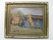 389: J.W. BEATTY (CANADIAN, 1869-1941) OIL ON BOARD PAI