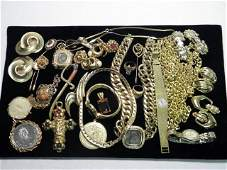 407 TRAY LOT OF ASSORTED LADIES COSTUME JEWELRY STERL