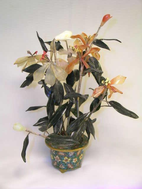 1151: VINTAGE STONE JADE FLOWER PLANT CLOISONNE POT