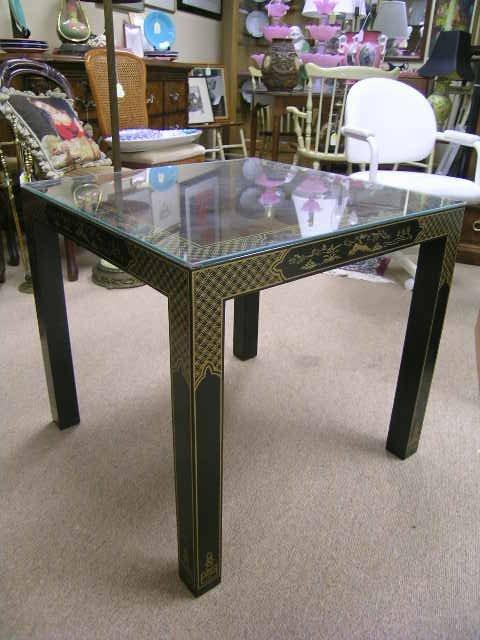 1155: DREXEL BLACK CHINOISERIE SIDE TABLE