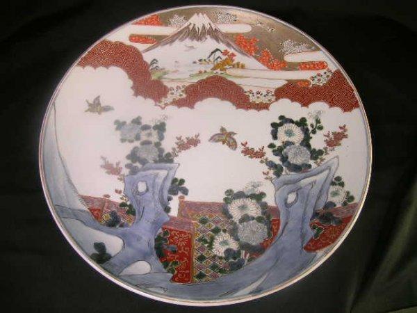 1156: IMARI MOUNTAIN SCENE HAND PAINTED ROUND CHARGER