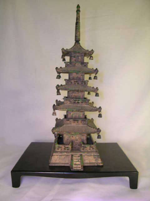1166: METAL ASIAN TABLE TOP GILT PAGODA TEMPLE STATUE