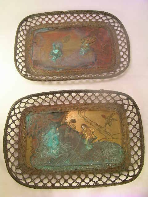 1167: TWO ENGRAVED JAPANESE BRONZE TRAYS