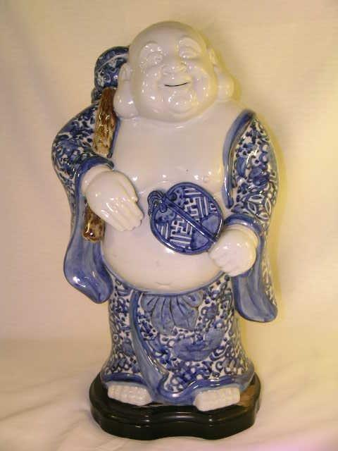 1168: LARGE GLAZED CERAMIC BLUE HOI TAI STANDING BUDDHA