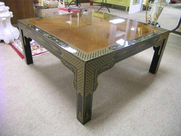 1169: DREXEL BLACK CHINOISERIE DESIGN COCKTAIL TABLE