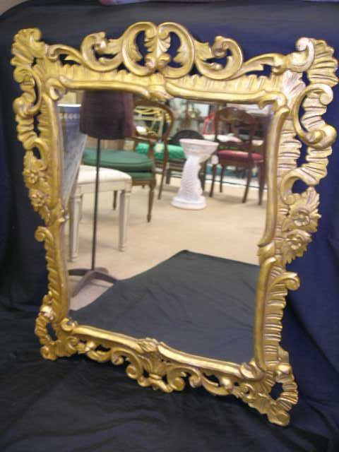 1170: ROCOCO STYLE CARVED GILT FLORAL FRAMED WALL MIRRO