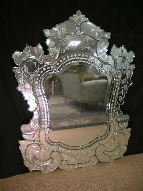 1170A: LG VENETIAN GLASS ETCHED BEVELED MIRROR WALL