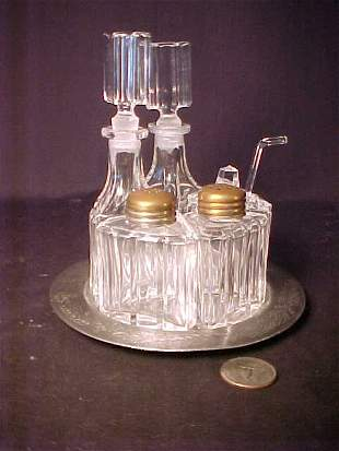 SILVER PLATE AND GLASS CONDIMENT SET 6 P
