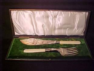 ORNATE FISH KNIFE & FORK ENGLISH SILVERP
