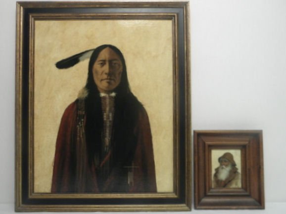4: TWO PORTRAIT PAINTINGS: NATIVE AMERICAN & SETTLER