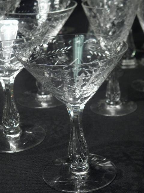 6: ENGRAVED CRYSTAL HOLLOW STEM WINE GLASSES: 30 PCS - 8