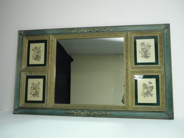 16: OVERMANTEL STYLE MIRROR WITH BOTANICAL INSERTS