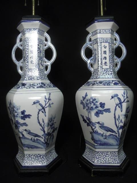 18: PAIR LARGE CHINESE CERAMIC BLUE & WHITE LAMPS