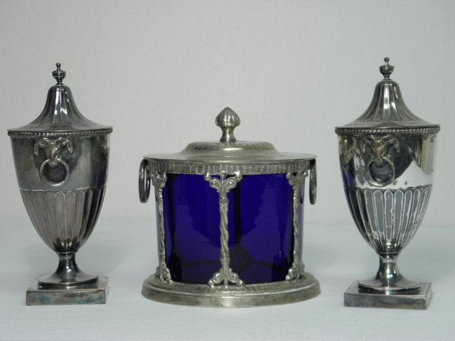 21: PAIR SILVER PLATED TROPHY CUPS & BISCUIT JAR