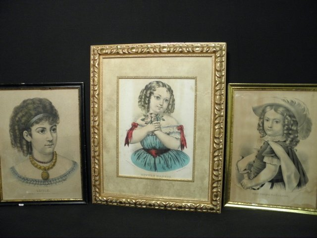 121: THREE CURRIER & IVES HAND COLORED LITHOGRAPHS: POR