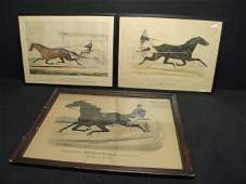 123 THREE CURRIER  IVES HAND COLORED LITHOGRAPHS TRO