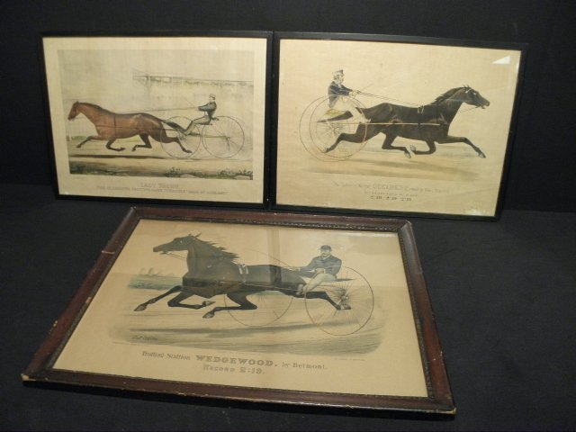 123: THREE CURRIER & IVES HAND COLORED LITHOGRAPHS: TRO
