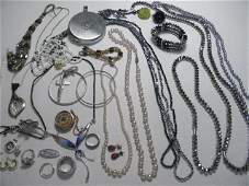 359: TRAY LOT ASSORTED LADIES COSTUME JEWELRY: STERLING
