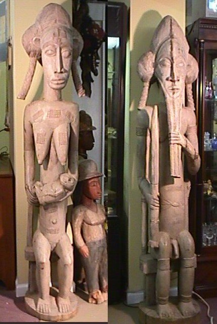 10: PAIR MASSIVE AFRICAN SENTRY SCULPTURES