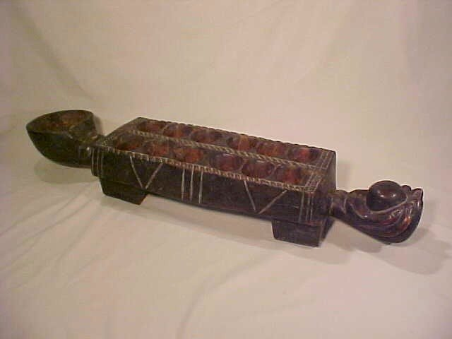 6: AFRICAN CARVED WOOD AWELE GAME
