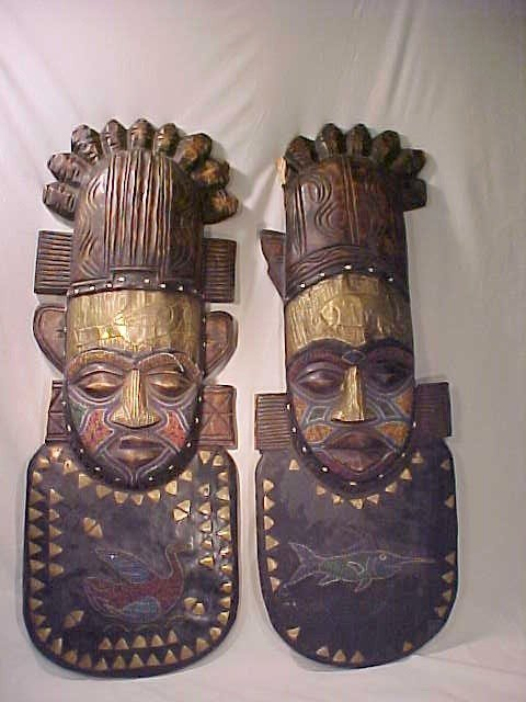 17: PAIR AFRICAN CARVED WALL PLAQUES