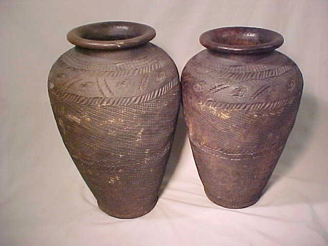 99: PAIR TALL AFRICAN CLAY POTS