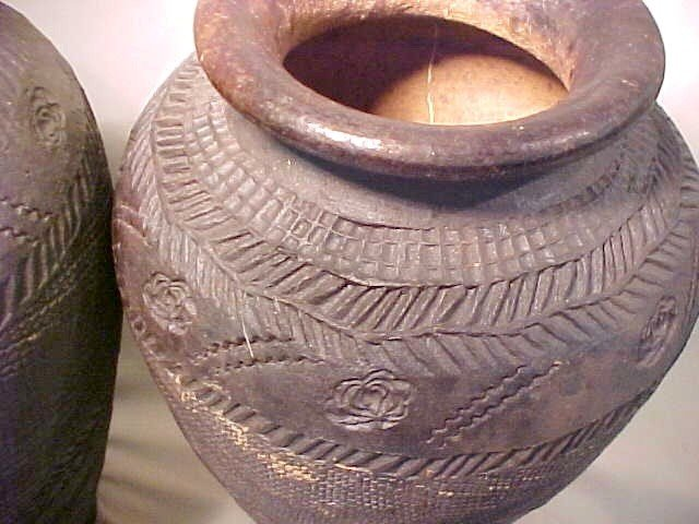 99: PAIR TALL AFRICAN CLAY POTS  - 3